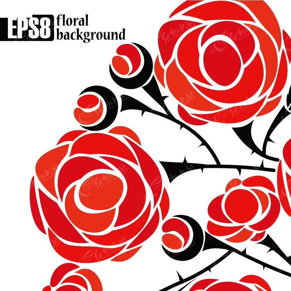 手绘玫瑰花枝矢量背景eps免费下载_底纹背景素材