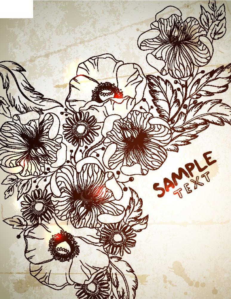 手绘线描花朵矢量背景EPS素材免费下载 编号3922762 红动网图片
