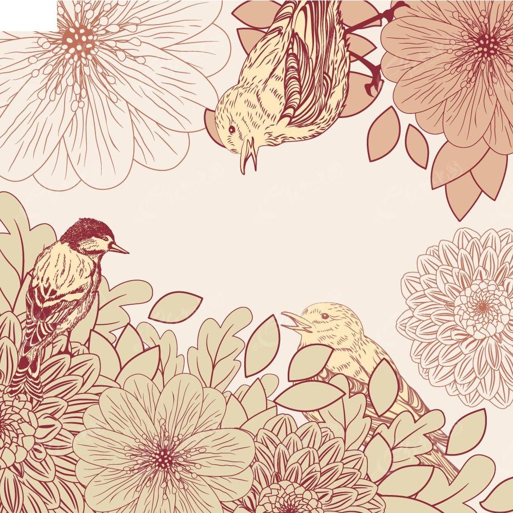 手绘线描花朵小鸟矢量背景