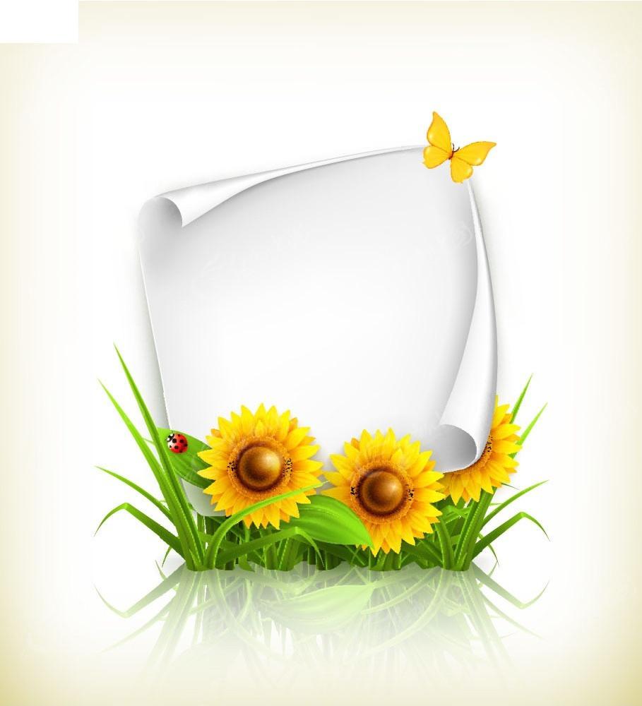 向日葵花朵卷角卡纸矢量背景