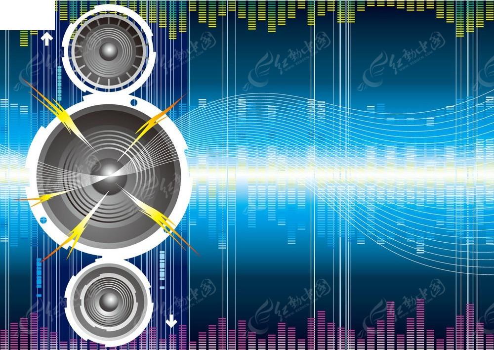 音律动感曲线矢量背景矢量图