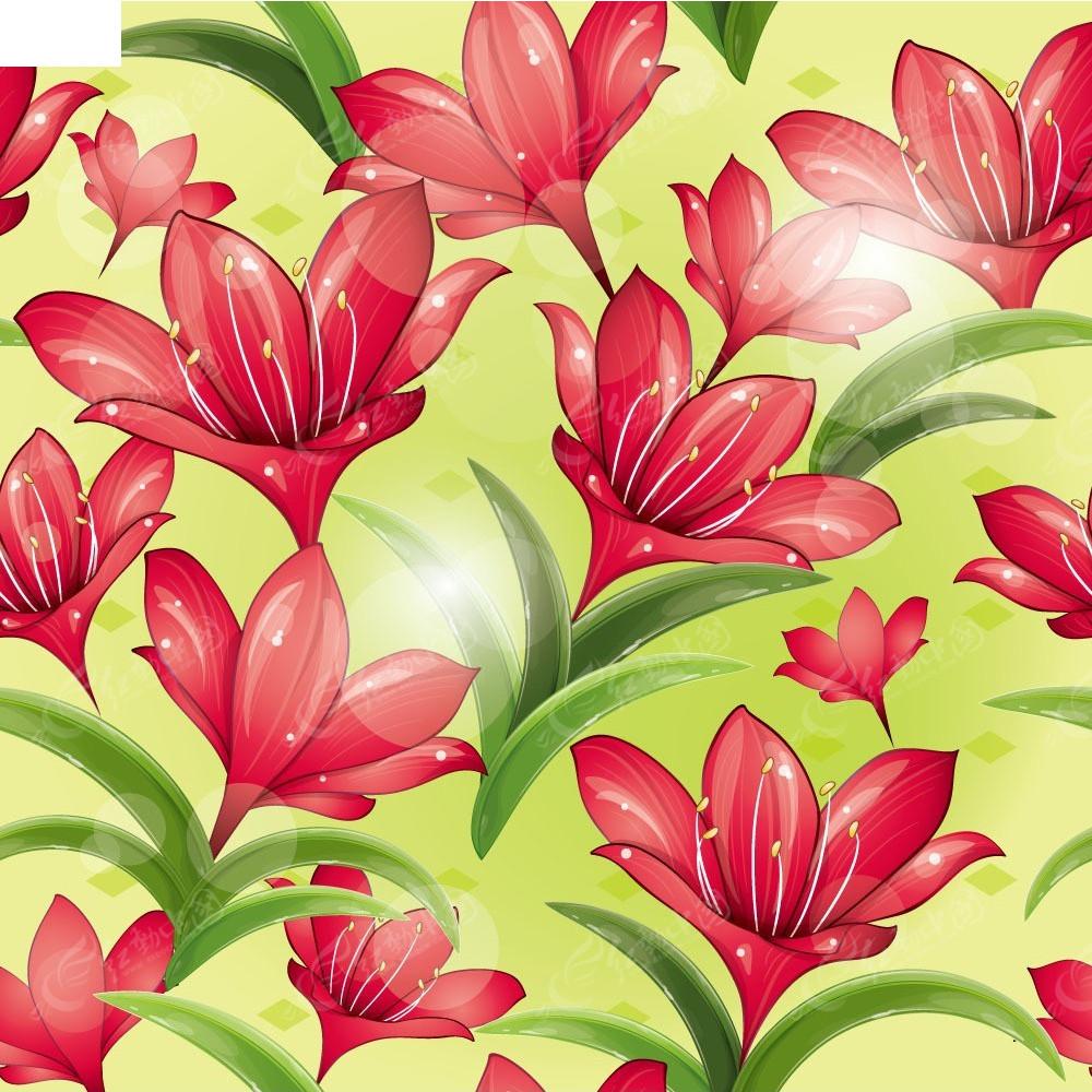 红色花朵矢量背景