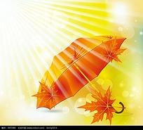 阳光下的火红雨伞枫叶背景素材