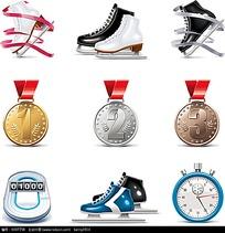 矢量奖牌冰刀鞋