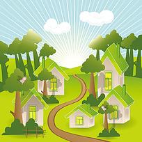 树木小路房子