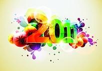 彩色水滴花纹上的斜立体2011艺术字