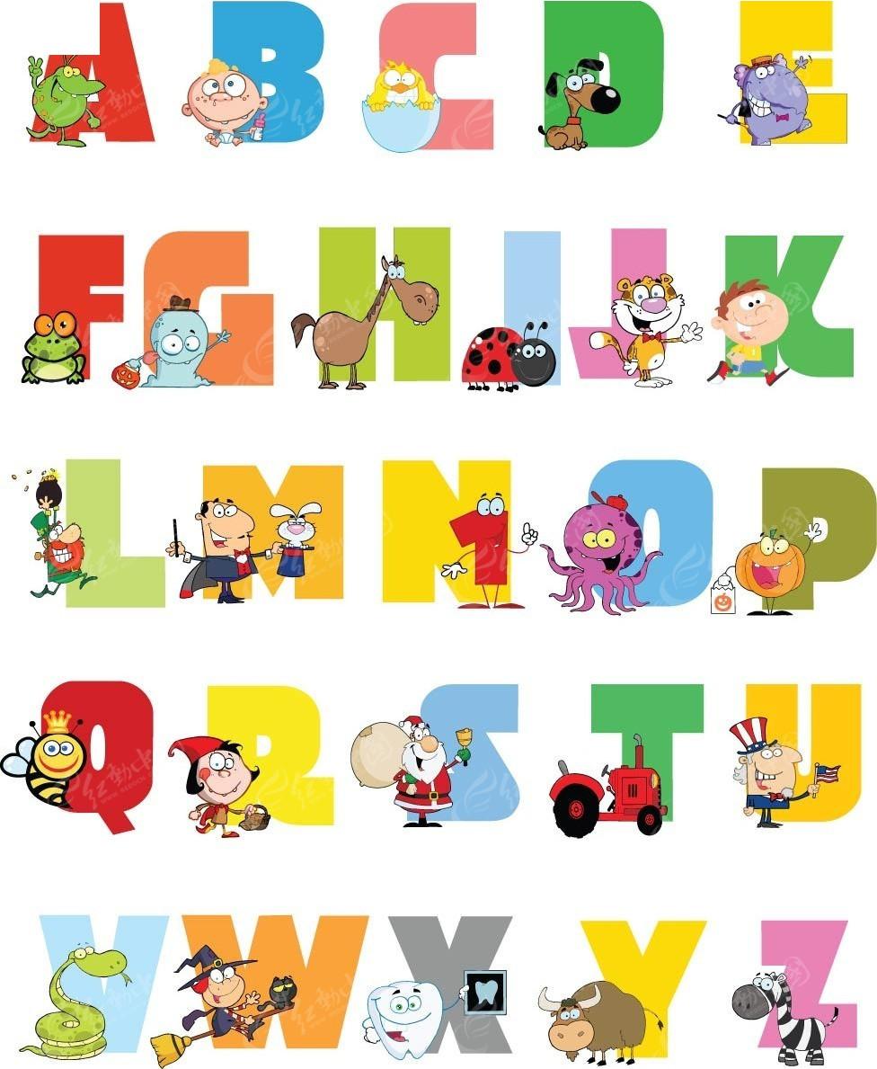 彩色卡通动物与人装饰字母ai免费下载_英文字体素材