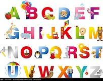 彩色小动物粗体字母