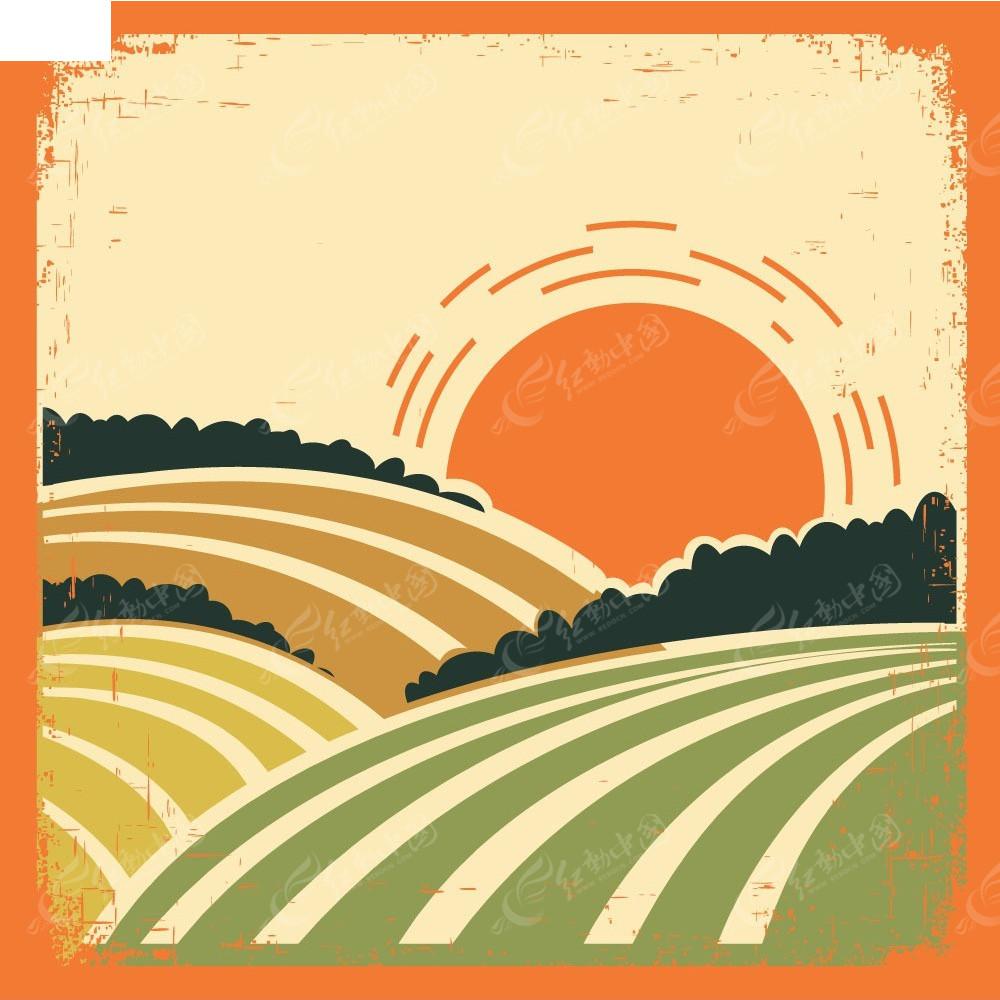 抽象麦田太阳矢量背景