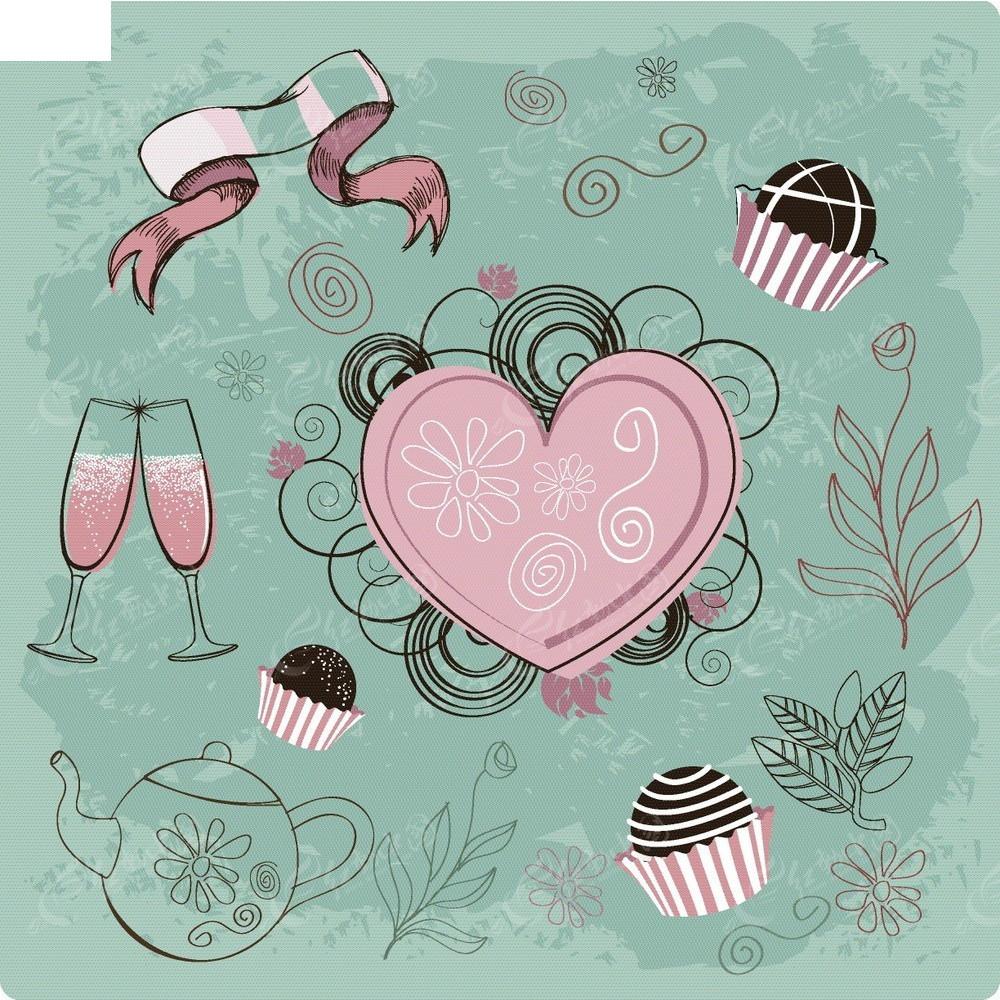 卡通手绘心形蛋糕红酒杯矢量背景