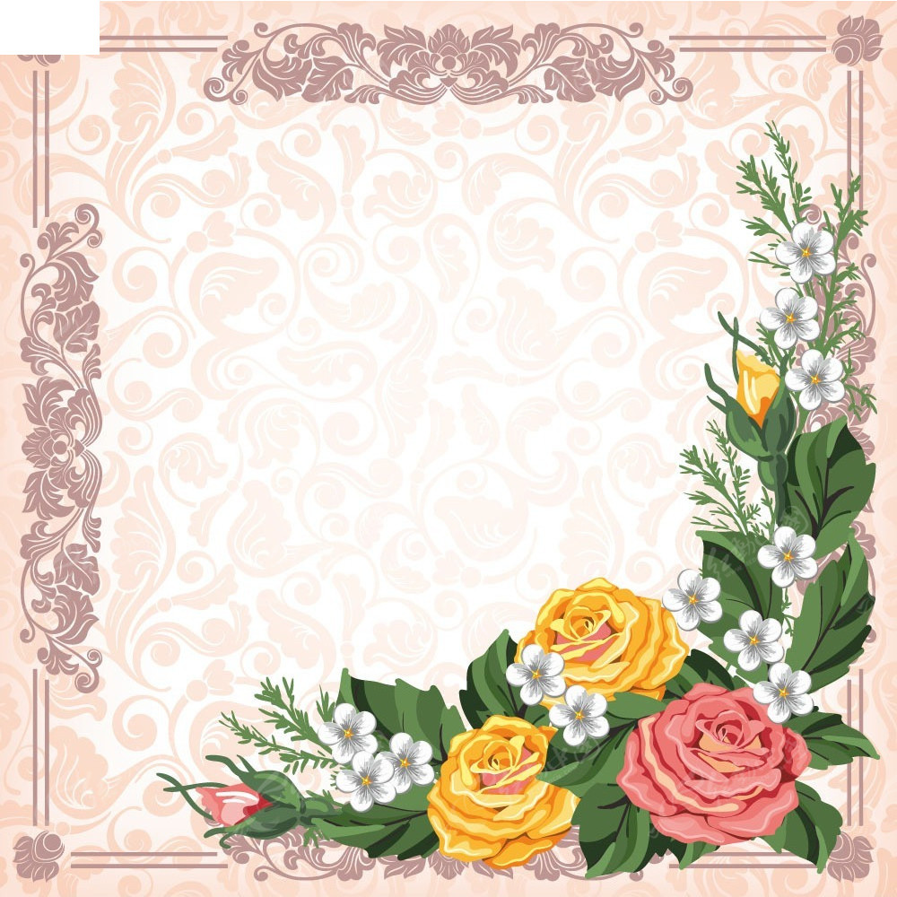 花朵花纹边框背景素材EPS免费下载