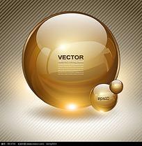 金色圆形立体按钮素材
