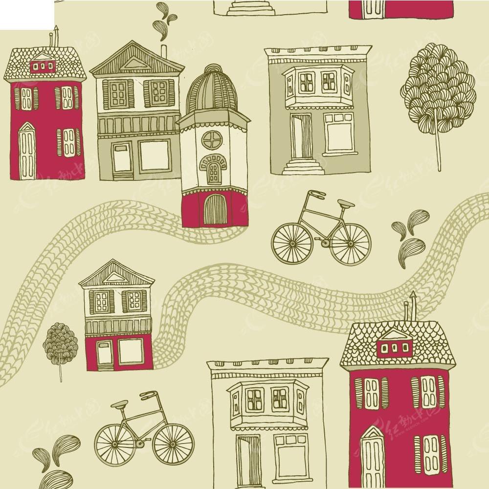 卡通手绘房子自行车背景素材