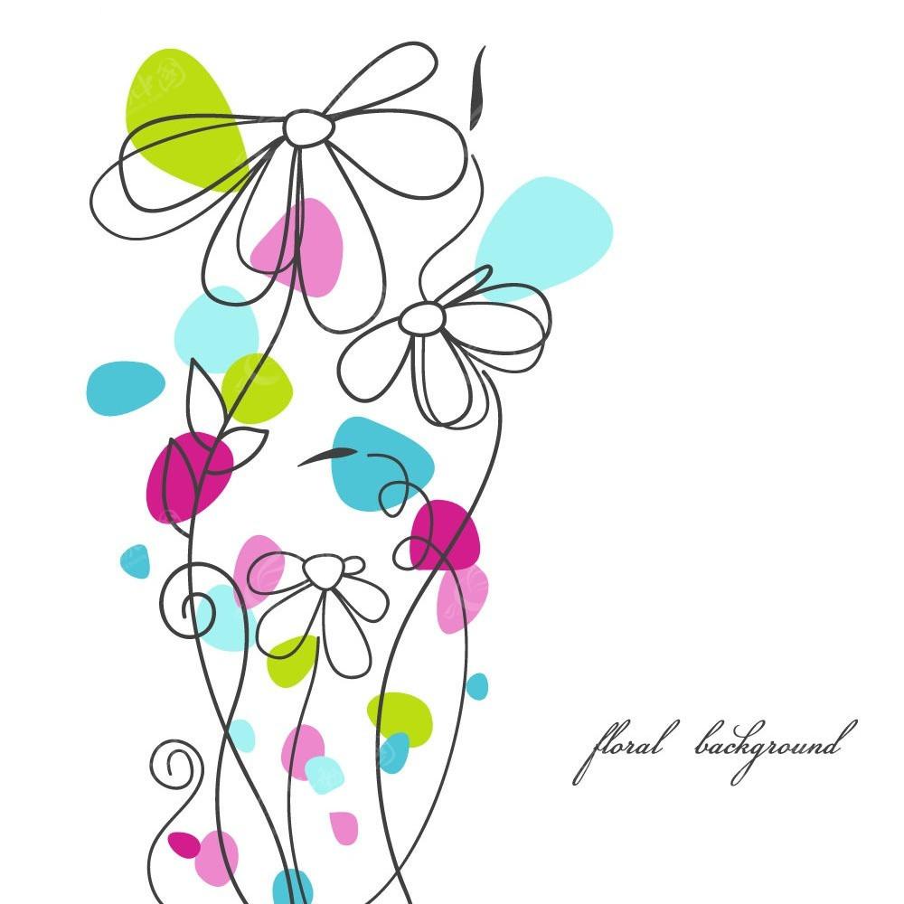 免费素材 矢量素材 花纹边框 底纹背景 水彩花枝背景素材