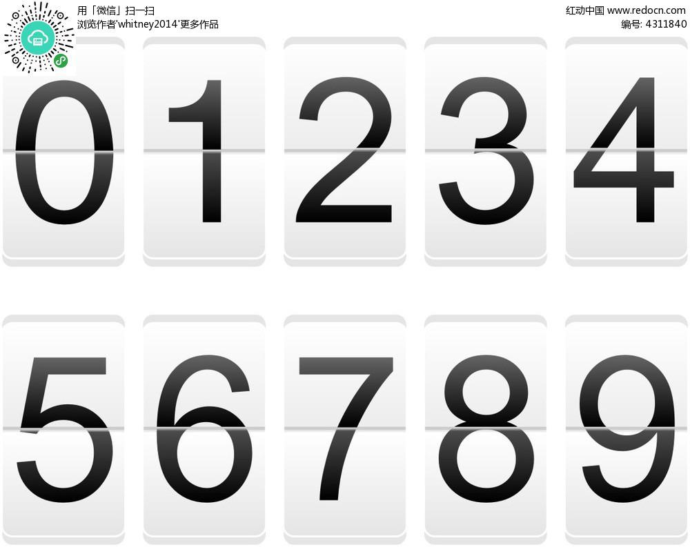 白底黑字翻牌數字