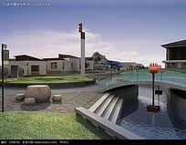 别墅园林小桥效果图片