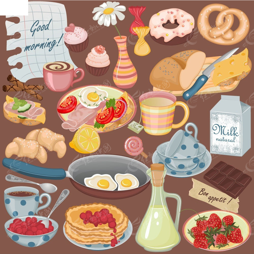 彩色食材蛋糕水果牛奶插画