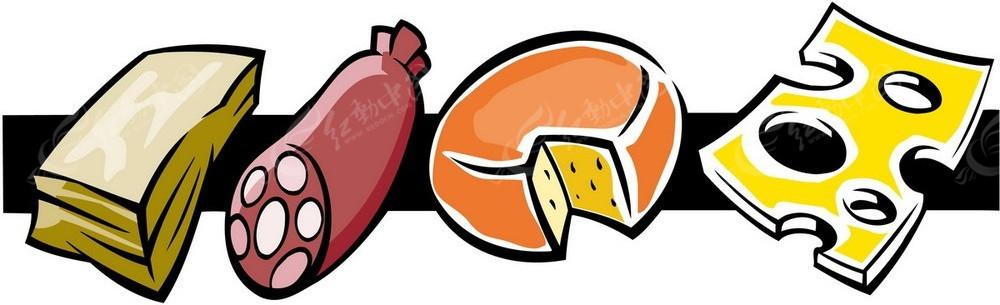 创意彩色热狗面包食物插画