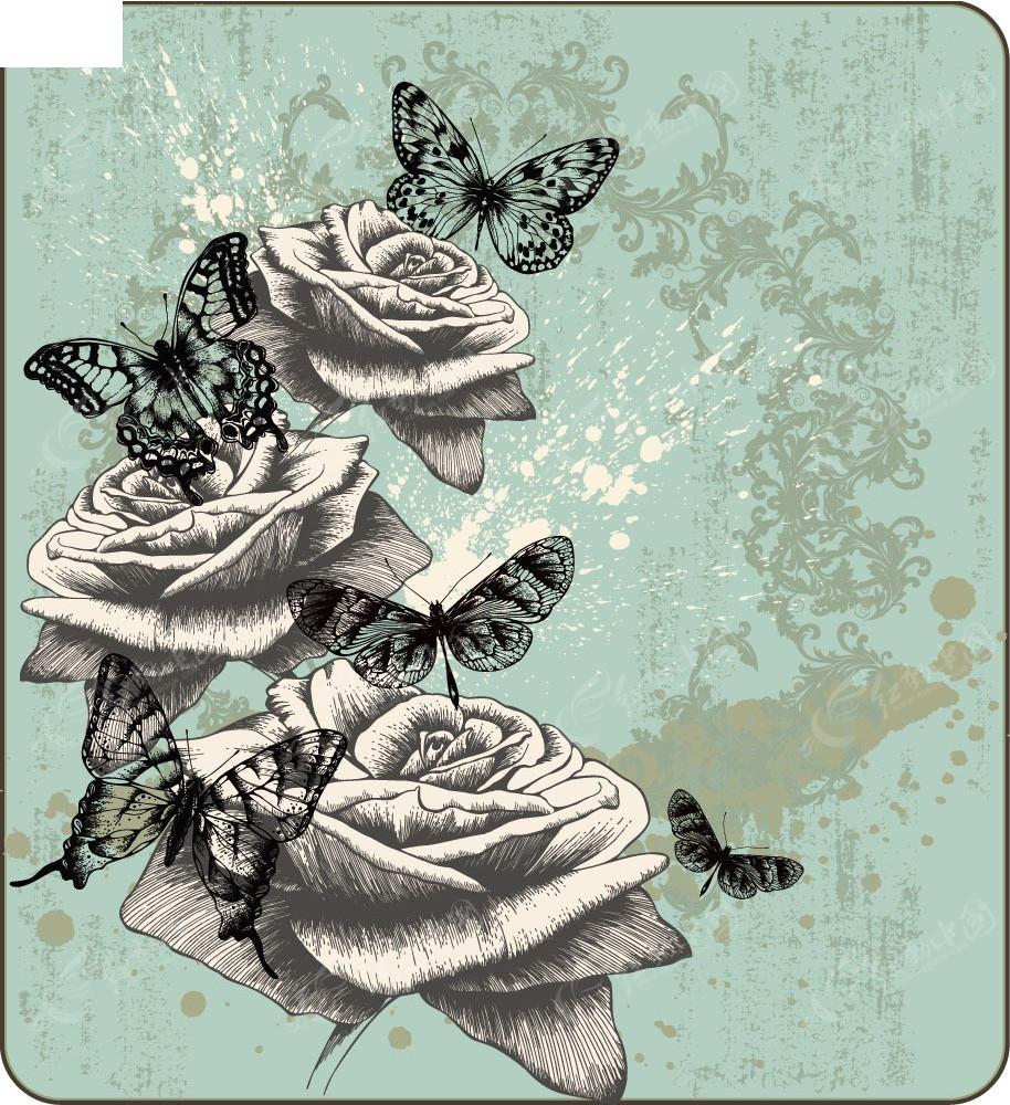 黑白手绘花朵蝴蝶背景素材