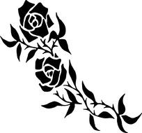 玫瑰花剪影_玫瑰剪影图片_玫瑰剪影设计素材