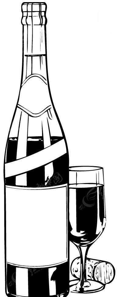 黑色矢量红酒瓶酒杯酒塞