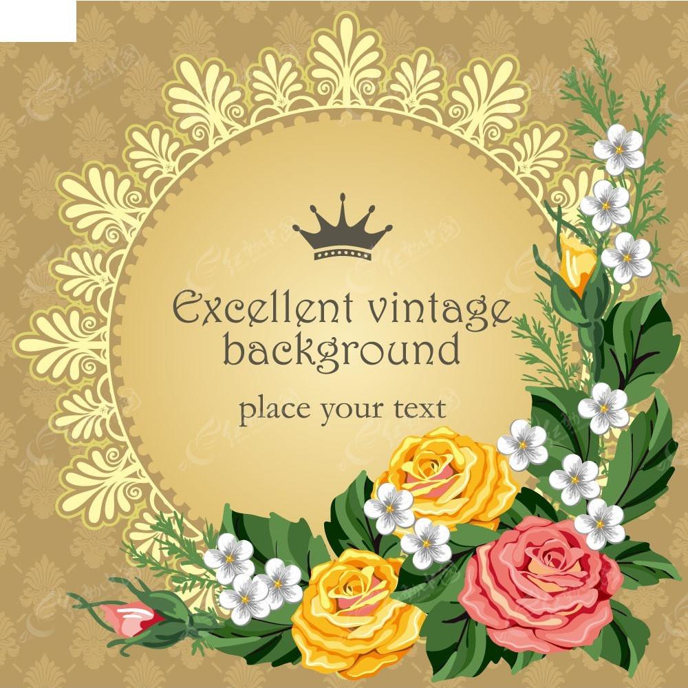 花纹花朵圆形边框背景素材