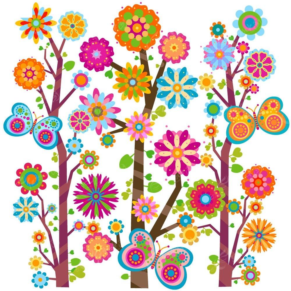 卡通花朵树矢量素材图片