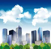 蓝天白云阳光照耀下的都市大厦