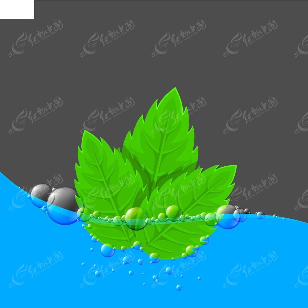免费素材 矢量素材 花纹边框 底纹背景 绿叶水泡矢量背景素材