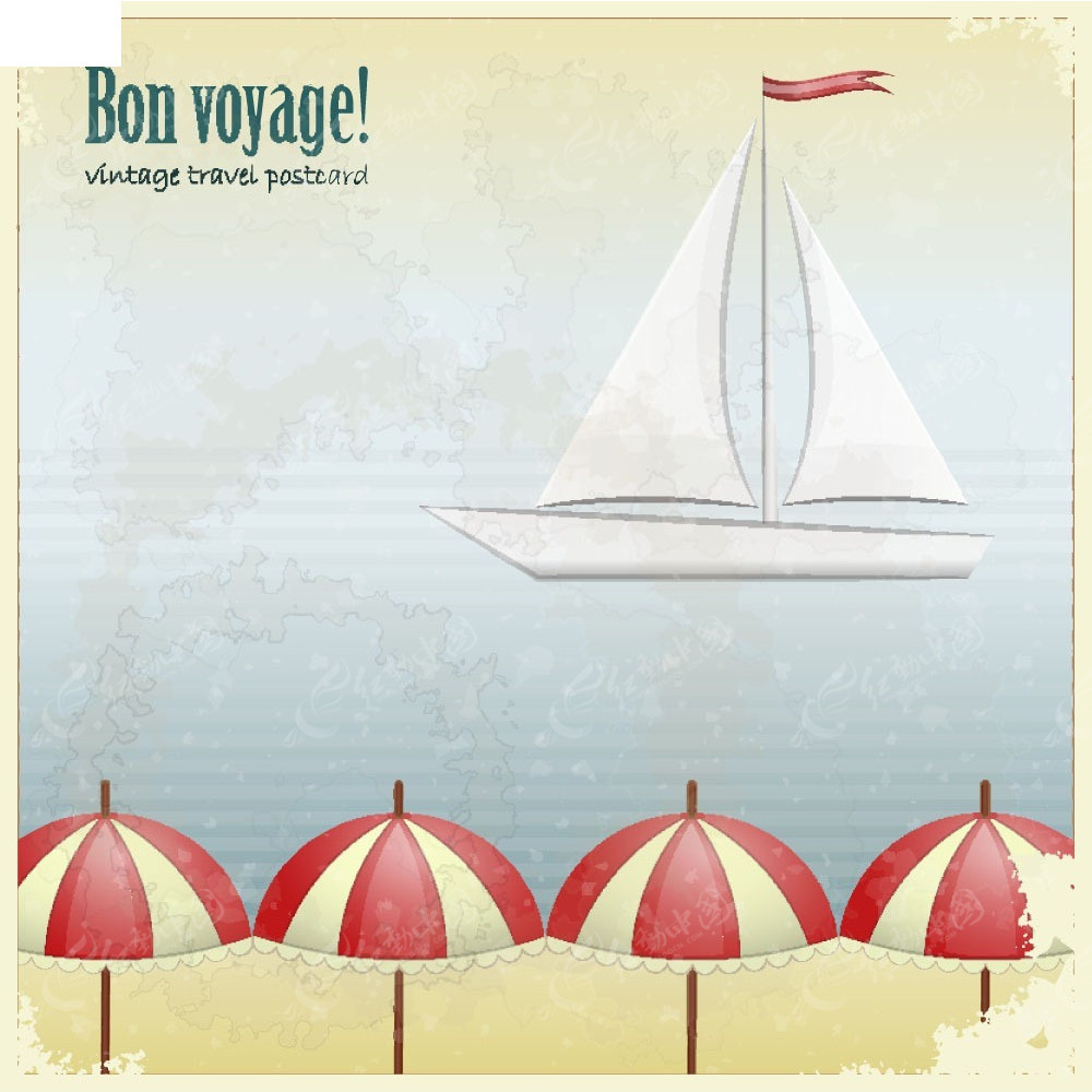 免费素材 矢量素材 花纹边框 底纹背景 沙滩大海帆船背景素材