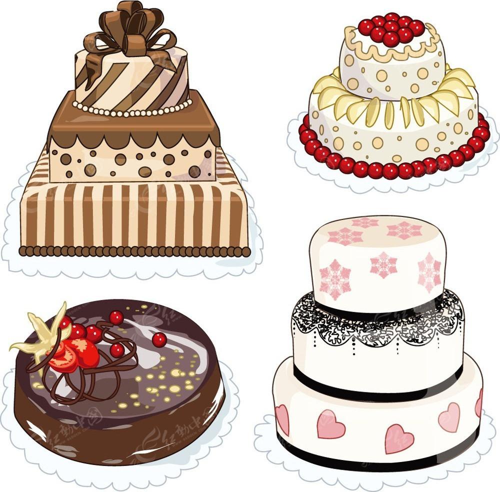 矢量创意生日蛋糕彩色