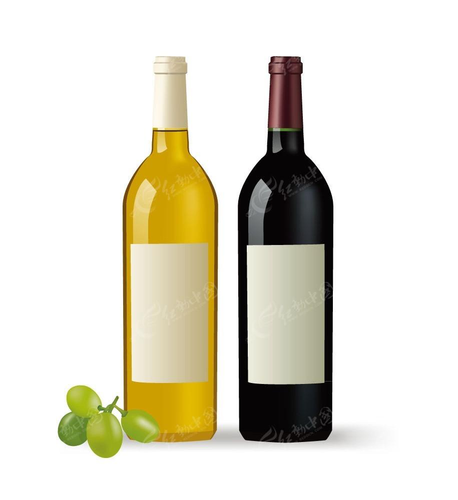矢量带有葡萄的红酒瓶插画