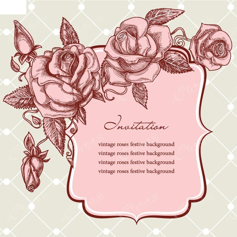 手绘线描花朵背景素材EPS免费下载 编号3915624 红动网图片