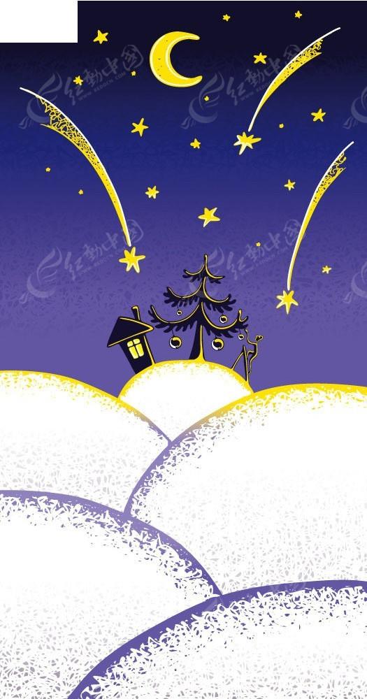 夜晚星空下的雪景