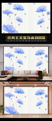 中国风背景墙之蓝莲花