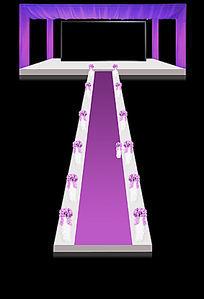 紫色立体婚礼舞台背景效果图