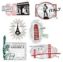 素描各国标志性建筑邮票素材