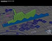 3D立体建模网格背景视频