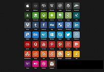 7种色系46个圆角矩形app图标