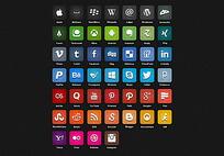 7种色系个圆角矩形app图标