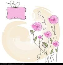 创意手绘粉色花朵