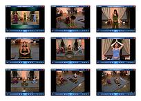 三女子室内瑜伽视频