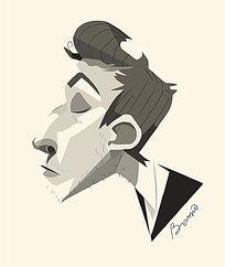 手绘卡通男人侧面插画