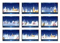 卡通雪夜房屋背景视频