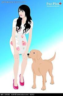 美女和小狗卡通手绘