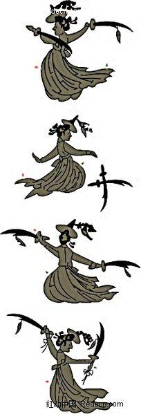 男子叉腿舞剑图片