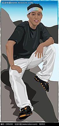 坐着的嘻哈黑人角色插画
