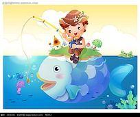 钓鱼的小男生卡通插画