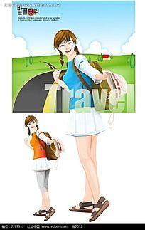 少女背包客插画
