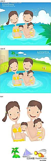 一家四口抱在一起韩国漫画